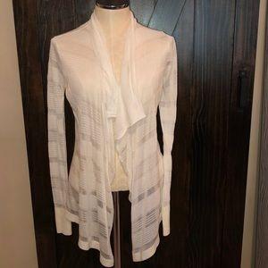 Express white drape front cardigan
